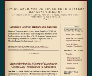 Prototype Timeline Developer, Living Archives on Eugenics in Western Canada